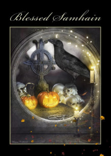 Samhain cards greeting photo cards zazzle blessed samhain mystical raven greeting card m4hsunfo