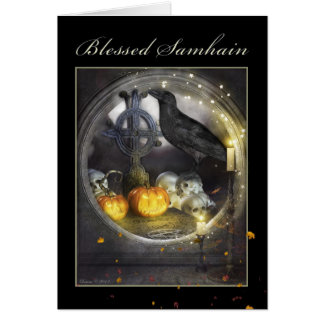 Blessed Samhain Mystical Raven Greeting Card