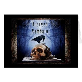 Blessed Samhain - Raven on Skull Greeting Card