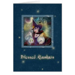 Blessed Samhain - Witch Blue Sparkle Card