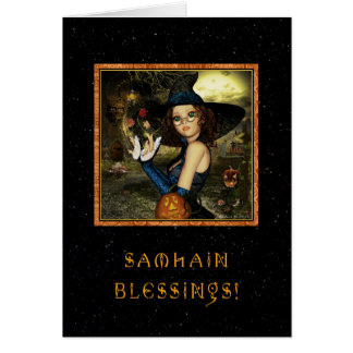Blessed Samhain - Witch Stars Greeting Card