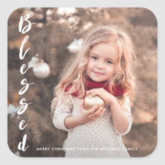 Blessed Script Photo Christmas Sticker