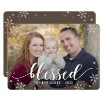 Blessed Season Holiday Photo Card Editable Color