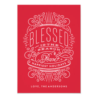 Blessed Season Lettering Holiday Christmas Card