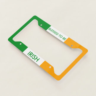 Blessed to be Irish Tricolor Flag License Plate Frame