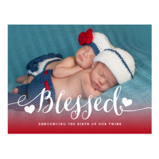 Blessed Twins | Photo Birth Announcement Postcard