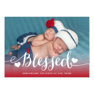 Blessed Twins | Red Valentine Birth Announcement