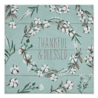 Blessed VI Mint | Thankful & Blessed Poster
