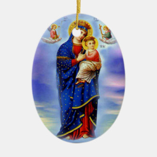 Blessed Virgin Mary and Infant Child Jesus Ceramic Ornament