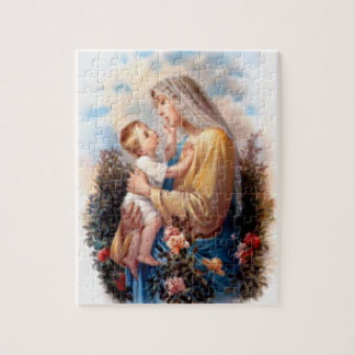 Blessed Virgin Mary and Infant Child Jesus Jigsaw Puzzle