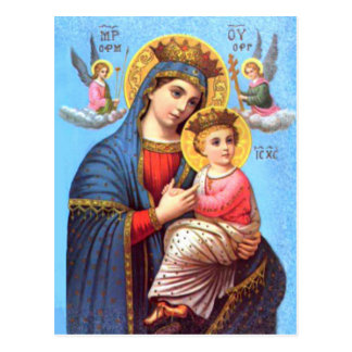 Blessed Virgin Mary and Infant Child Jesus Postcard