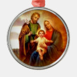 Blessed Virgin Mary and Infant Child Jesus Round Metal Christmas Ornament