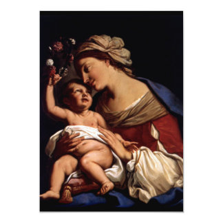 """Blessed Virgin Mary and Infant Child Jesus -Sirani 5"""" X 7"""" Invitation Card"""
