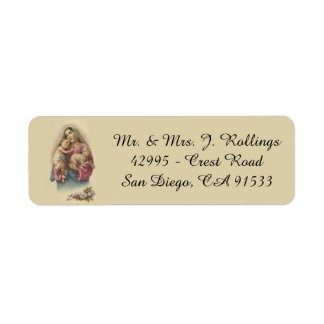 Blessed Virgin Mary Baby Jesus Flowers Label