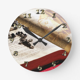 Blessed Virgin Mary Bible Rosary Round Clock