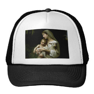 Blessed Virgin Mary Holding Child Jesus and Lamb Trucker Hat
