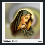 """Blessed Virgin Mary in Prayer Wall Decal<br><div class=""""desc"""">Image of the Blessed Virgin Mary the Mother of God printed on high quality gifts.  Please add your own text. Image with the &quot;By Remi&quot; insignia.  More images at http://frontiernowimages.com</div>"""