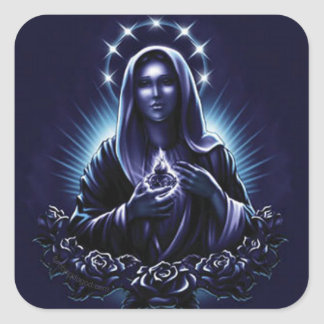 Blessed Virgin Mary in Purple with Roses Square Sticker