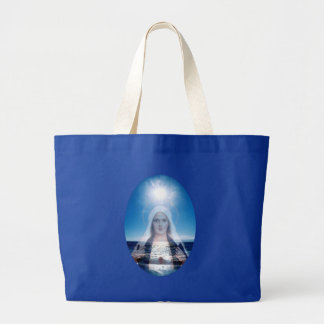 Blessed Virgin Mary Over the Ocean Tote Bags