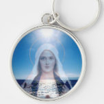Blessed Virgin Mary Over the Ocean Key Chains
