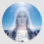 Blessed Virgin Mary Over the Ocean Round Stickers