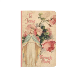 Blessed Virgin Mary Peach Pink Roses Journal