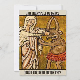 Blessed Virgin Mary Punch the Devil in the Face Thank You Card