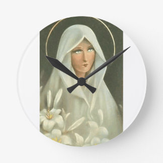 Blessed Virgin Mary Round Clock