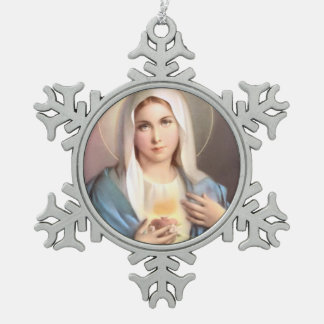 BLESSED VIRGIN MARY SNOWFLAKE PEWTER CHRISTMAS ORNAMENT