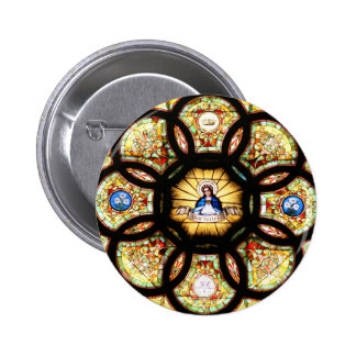 Blessed Virgin Mary Stained Glass Pinback Button