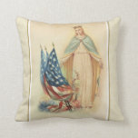 Blessed Virgin Mary Vintage American Flag Throw Pillow