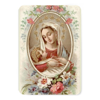 Blessed Virgin Mary with Baby Jesus & Flowers Card