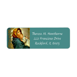 Blessed Virgin Mary with Baby Jesus Label