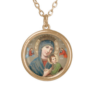 Blessed Virgin Mary with Child Jesus Icon Necklace