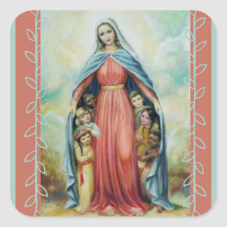 Blessed Virgin Mary with Children Square Sticker