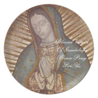 blessed virgin of guadalupe please pray for us dinner plate