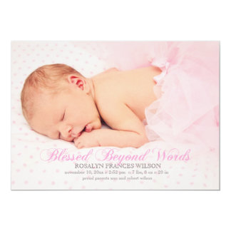 Blessed With A Girl Photo Birth Announcement