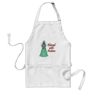 Blessed With Autism Awarness Angel Design Adult Apron
