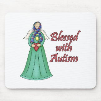 Blessed With Autism Awarness Angel Design Mouse Pad