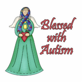 Blessed With Autism Awarness Angel Design Photo Sculpture