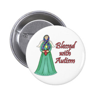 Blessed With Autism Awarness Angel Design Pinback Button