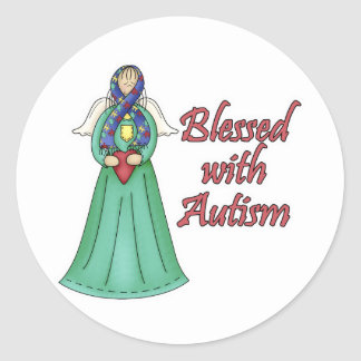 Blessed With Autism Awarness Angel Design Round Sticker