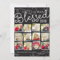 Blessed Year Christmas Photo Collage Holiday Card