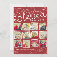 Blessed Year Collage Christmas Photo Card in Red