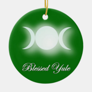 Blessed Yule (Triple Moon Goddess) Ceramic Ornament