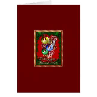Blessed Yule Wicca Christmas Pentagram Card