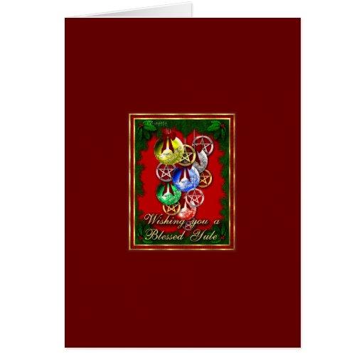 Blessed Yule Wicca Christmas Pentagram Greeting Cards