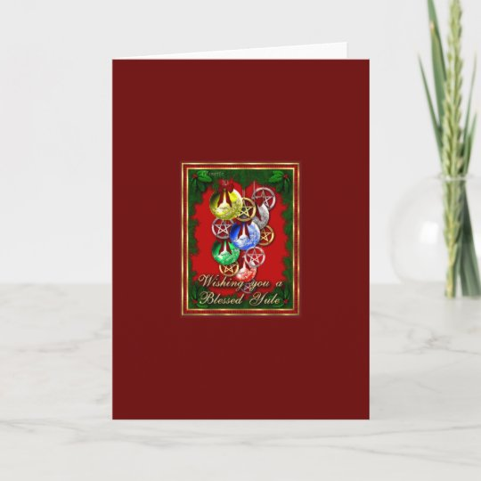 Wicca Christmas.Blessed Yule Wicca Christmas Pentagram Holiday Card