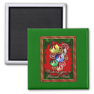 Blessed Yule Wicca Christmas Pentagram 2 Inch Square Magnet