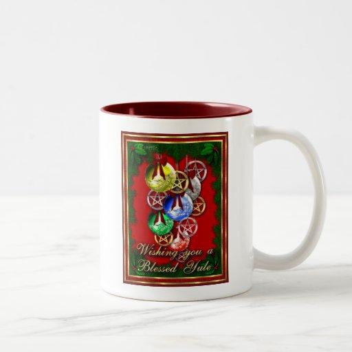 Blessed Yule Wicca Christmas Pentagram Two-Tone Coffee Mug